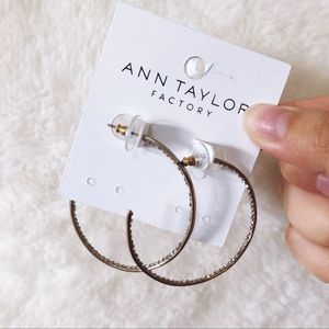 Ann Taylor Gold Large Pave Hoop Earrings